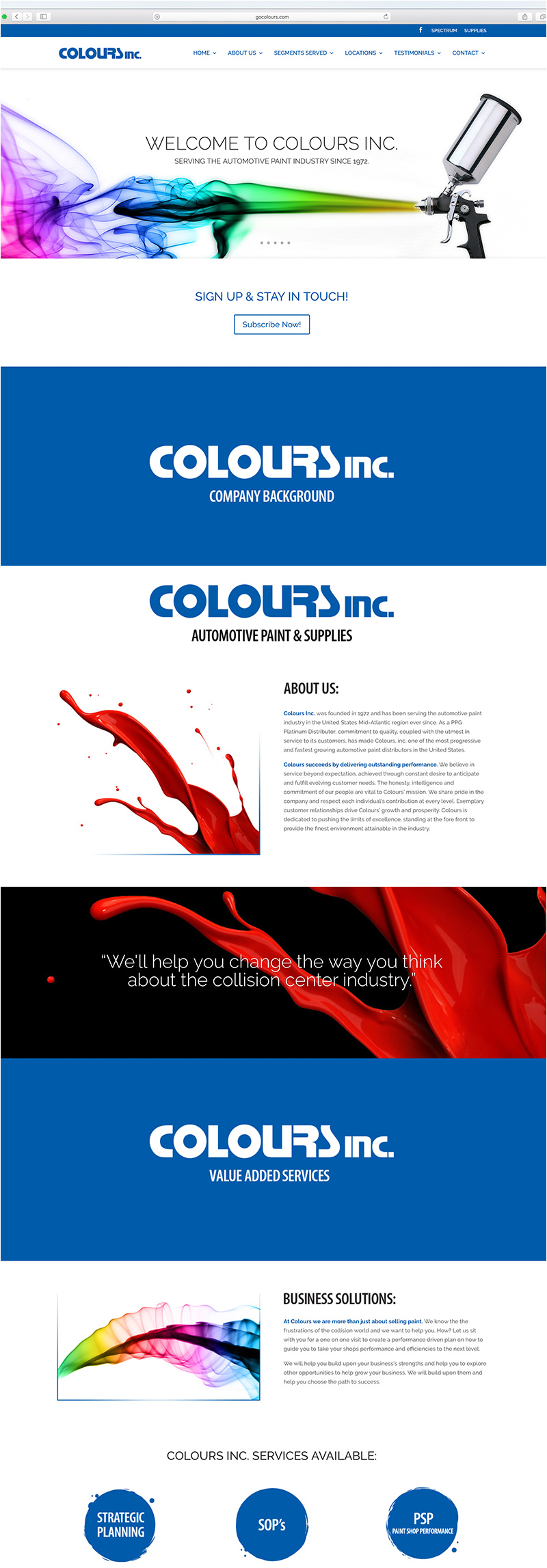 Colours, Inc. Automotive Paint & Supplies website